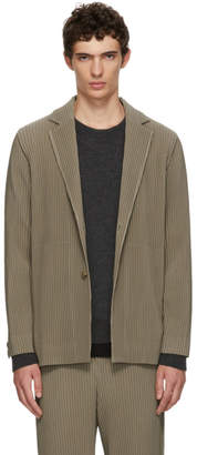 Issey Miyake Homme Plisse Green Tailored Pleats Coat