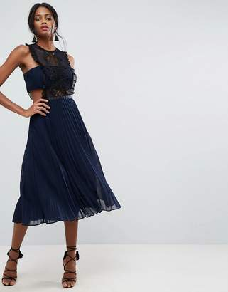 Asos Lace Pinafore Pleated Midi Dress