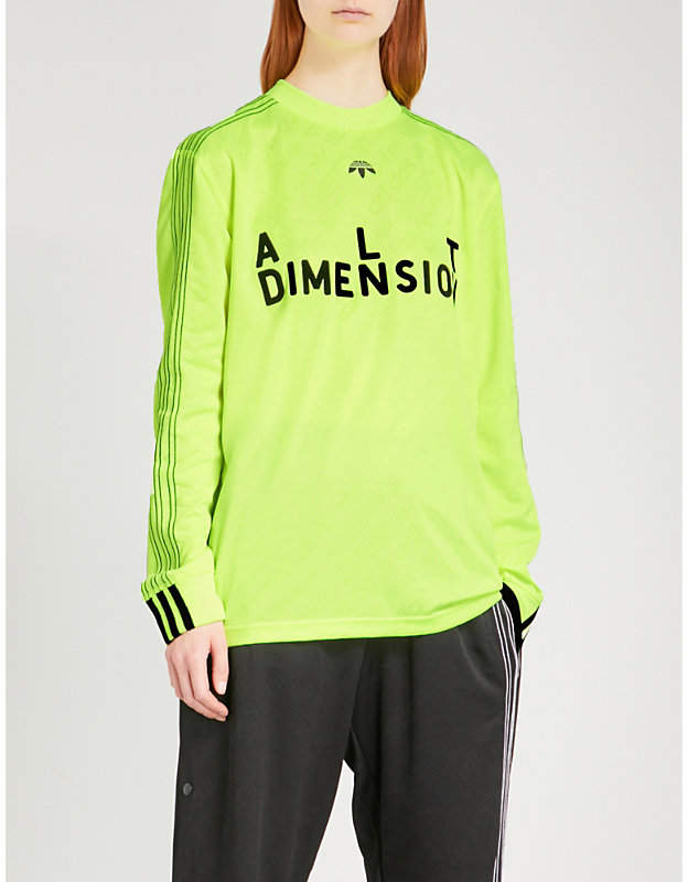 Adidas X Alexander Wang Text-flocked jersey soccer top