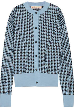 Marni - Houndstooth Wool-blend Cardigan - Sky blue