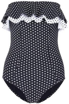 'Sabine' polka dot ruffled strapless one-piece swimsuit