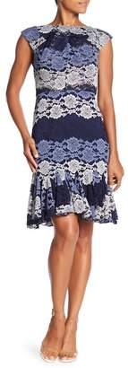 Eva Franco Gertrude Lace Peplum Hem Dress