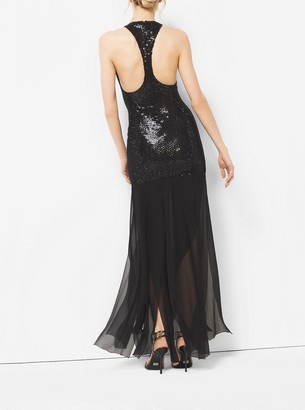 Michael Kors Crystal-Embroidered Stretch Silk-Tulle Slashed Gown