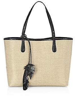 Nancy Gonzalez Women's Medium Erica Linen & Crocodile Trim Tote