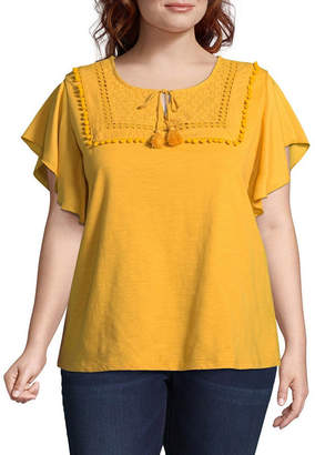 ST. JOHN'S BAY Short Sleeve Pom Pom Blouse - Plus