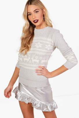 boohoo Reindeer Fairisle Christmas Sweater