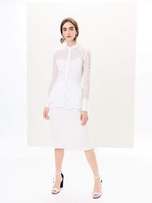 Oscar de la Renta Textured Wool-Crepe Pencil Skirt