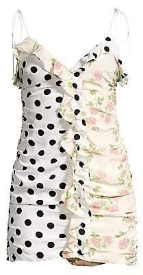 For Love & Lemons Women's Mochi Shirred Polka Dot & Floral Mini Dress