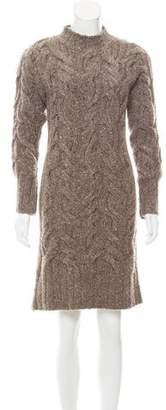 Black Fleece Knee-Length Sweater Dress