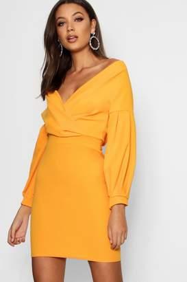 boohoo Tall Off The Shoulder Mini Dress