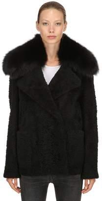 Yves Salomon Shearling Jacket W/ Fox Fur Collar