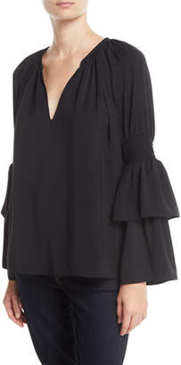 Ramy Brook Lali V-Neck Bell-Sleeve Top