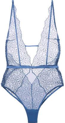 Coco de Mer - Lazuli Embroidered Silk-blend Mesh Bodysuit - Blue