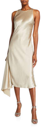 Mestiza New York Alana Satin Midi Asymmetric Side-Drape Slip Dress
