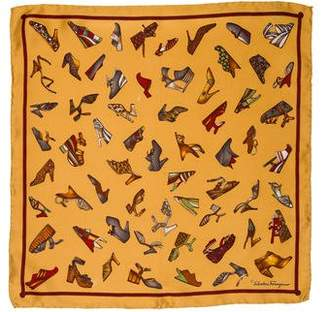 Salvatore Ferragamo Silk Printed Pocket Square