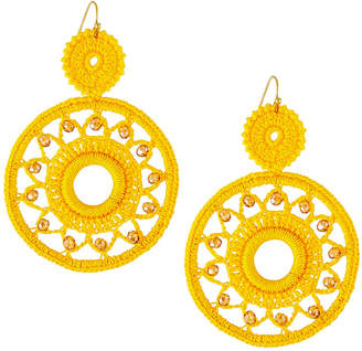 Panacea Crochet Crystal Hoop-Drop Earrings, Yellow