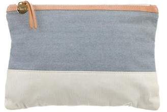 Clare Vivier Leather & Chambray Zip Pouch