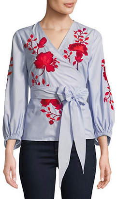 INC International Concepts Petite Embroidered Floral Wrap Top
