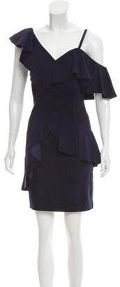 Alice + Olivia Ruffle-Trimmed Suede Dress w/ Tags