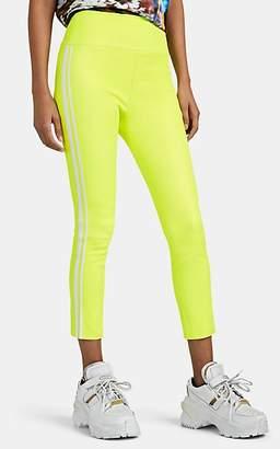 Sprwmn Women's Striped Stretch-Lambskin Crop Leggings - Yellow