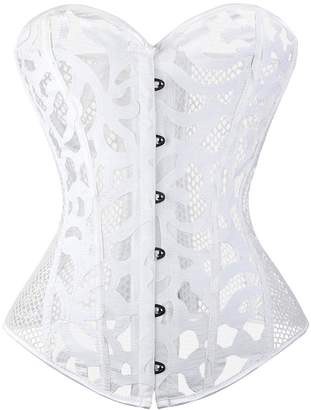 f400b44d25b Hunter Little Women s Sexy Lace Floral See Through Breathable Waist  Slimming Corset Top