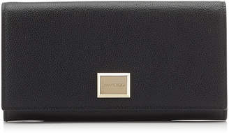 Jimmy Choo MARTINA Black Grainy Calf Leather Medium Zip Around Wallet