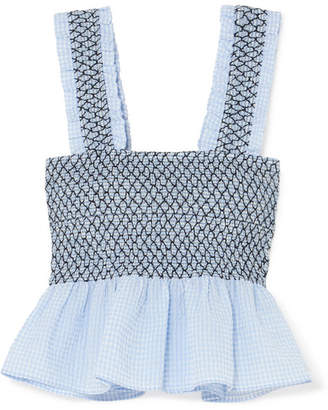 Ganni Shirred Gingham Cotton-blend Seersucker Top - Sky blue
