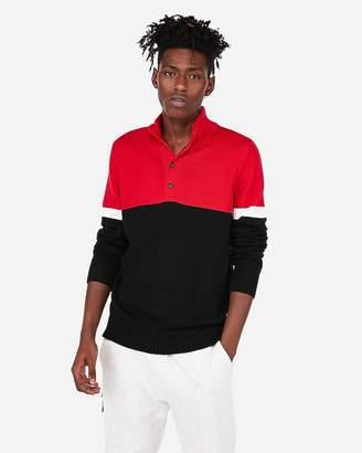 Express Color Block Snap Mock Neck Sweater