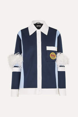 Miu Miu Feather-trimmed Color-block Neoprene Jacket - Navy