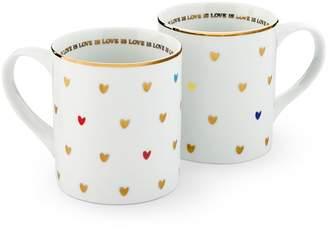 Pottery Barn Love is Love Ceramic Mug, Set of 2