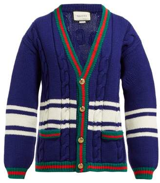 e7370c030d84d9 Gucci La Societe Angelique Web Stripe Wool Cardigan - Womens - Blue Multi