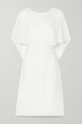 Halston Cape-effect Crepe De Chine Mini Dress - Off-white