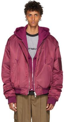 Juun.J Pink Conceal. Reveal Hoodie Bomber Jacket