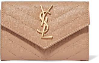 Saint Laurent Quilted Textured-leather Wallet - Beige