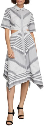 BCBGMAXAZRIA Striped Cutout Cotton Handkerchief Dress