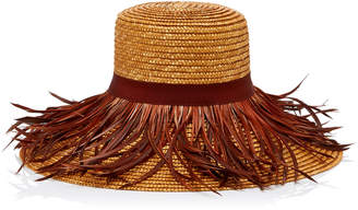 Eugenia Kim Annabelle Feather-Trimmed Straw Hat