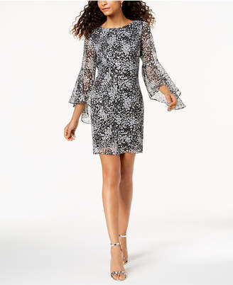 Jessica Howard Printed Clip-Dot Bell-Sleeve Dress
