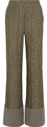 Alberta Ferretti Silk-trimmed Metallic Lace Wide-leg Pants