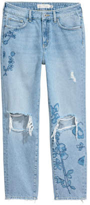 H&M Straight Regular Ankle Jeans - Blue
