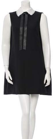 Valentino Leather-Trimmed Wool Dress w/ Tags