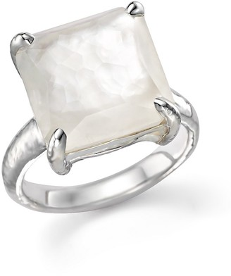 IPPOLITA Sterling Silver Wonderland Medium Square Stone Ring in Clear Quartz and Mother-of-Pearl Doublet $395 thestylecure.com