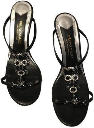 Bruno Magli Black Leather Sandals