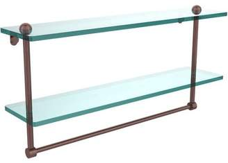 """Allied Brass 22"""" 2-Tiered Glass Shelf with Integrated Towel Bar (Build to Order)"""