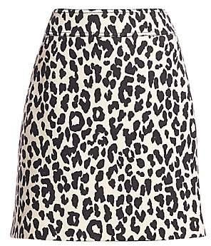Akris Punto Women's Leopard Print Wool Mini Skirt