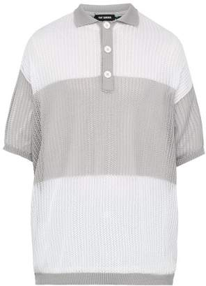Raf Simons Oversized Mesh Front Polo Shirt - Mens - Light Grey