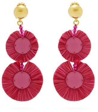 Oscar de la Renta Bead Embellished Raffia Disc Drop Earrings - Womens - Pink