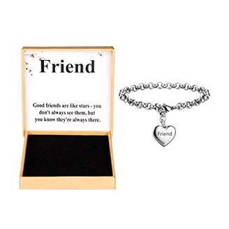 Best Friend Bracelets Stainless Steel Heart Charm Bracelet for Girl Birthday Gifts for Her