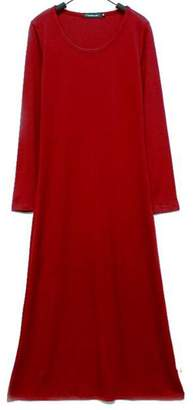 Herose Female Cotton Blended Brushed Loose Fitting One Piece Maxi Dress Wine Red