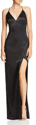 Aidan Mattox Aidan Aidan Side-Slit Column Gown
