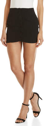 Honey Punch Black Button Mini Skirt